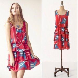Sariah Silk Floral Ruffle Tiered Dress Size 8